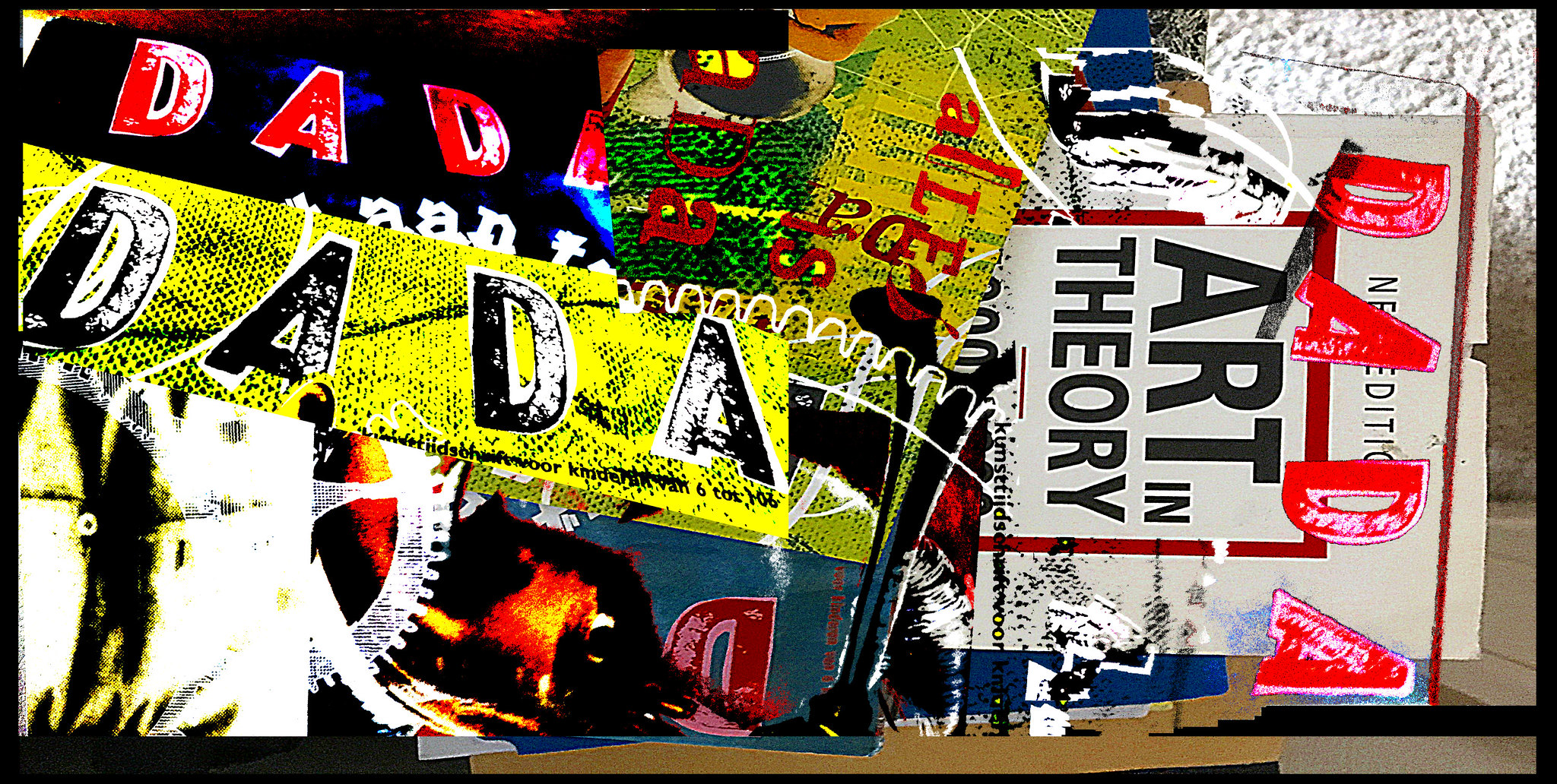 """Collage of magazine clippings that say """"DADA"""" in big, bold, colorful letters, multiple times."""