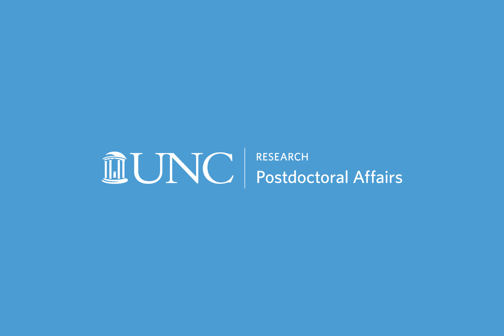 Image of the Office of Postdoctoral Affairs logo on a Carolina blue background.